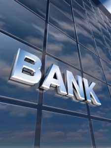 Building with Bank Sign