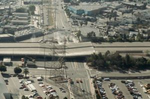 Aerial View of Freeway Damaged by Earthquake